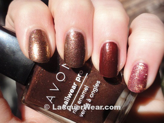 OPI Warm & Fozzie, Avon Deluxe Chocolate, OPI Rally Pretty Pink