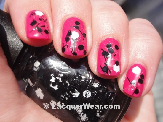 China Glaze Whirled Away w/ Dior Pink Graffiti